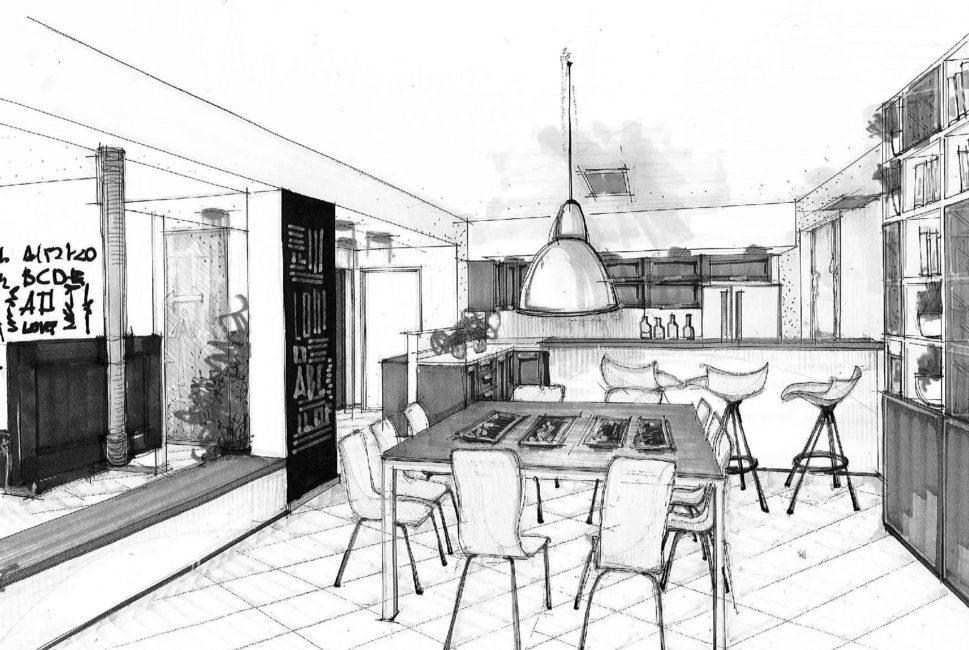 Cucina e soggiorno open space in 65 mq - Id Architettura